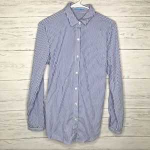 Blue White Striped Waist Tie Long Sleeve Button Up